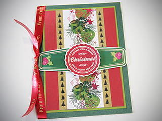 A personalised Christmas card using printed full colour labels from the Brother Design and Craft label printer
