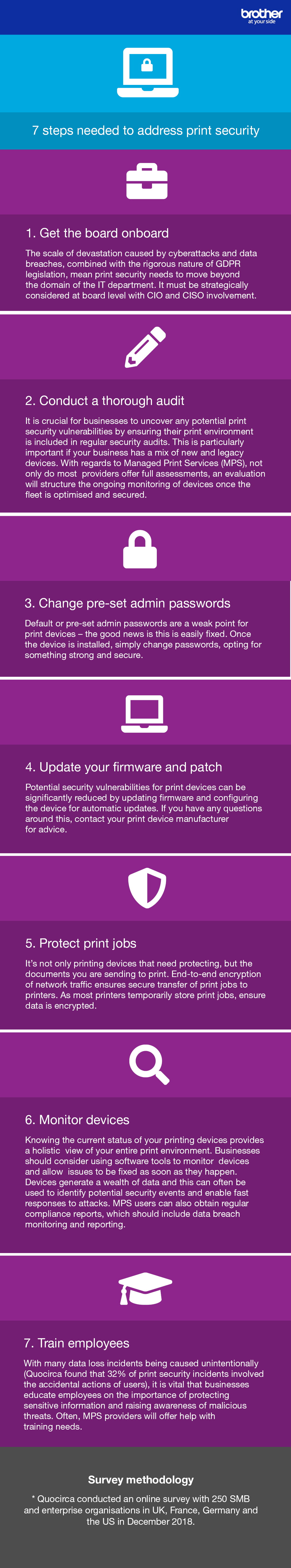 An infographic from Brother and Quocirca on the improvements businesses can make with their office printing strategy for increased security and reduced data loss