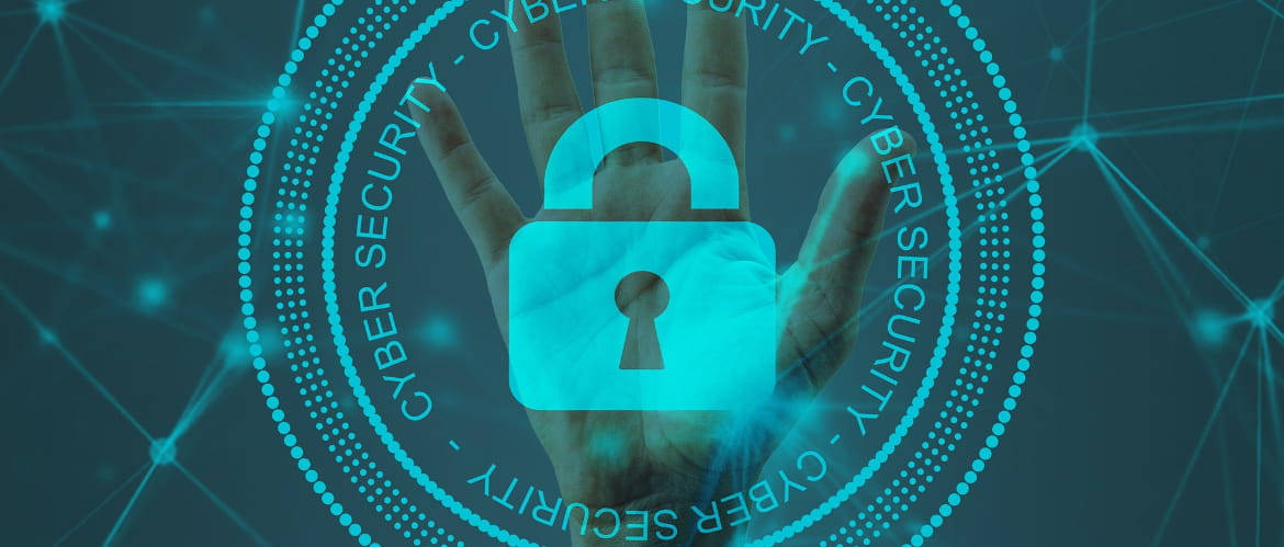 An image with a graphic padlock overlaying a human hand on a teal coloured background with connected dots.