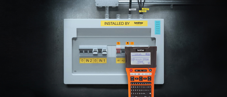 Labelled fuse with PT-E550W label printer