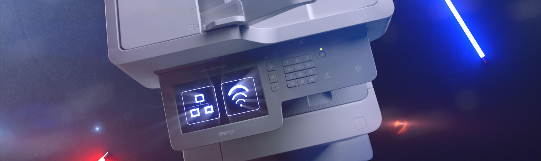 Brother MFC-L9570CDW spalvotas lazerinis verslo spausdintuvas su WiFi simboliu jutikliniame ekrane