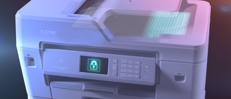 Brother MFC-J6947DW profesionalus A3 ir A4 formato rašalinis spausdintuvas su saugos simboliu jutikliniame ekrane