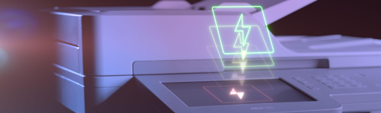 Brother MFC-L9570CDW spalvotas verslo pausdintuvas su žaibo simboliu virš jutiklinio ekrano