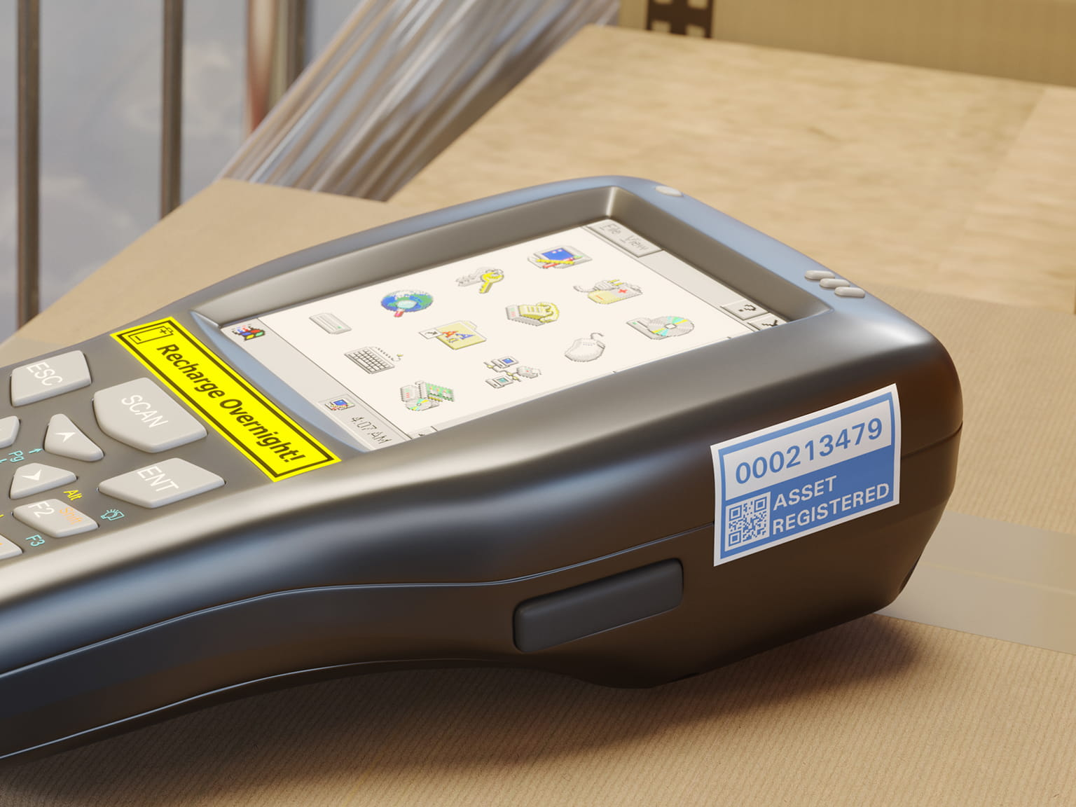 Barcode scanner with blue on white durable asset label printed on a Brother P-touch TZe laminated label