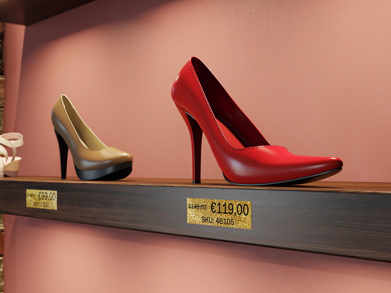 Brother premium glitter black on gold label attached on shelf edge showing price of shoes
