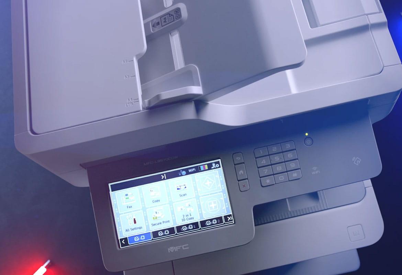 Brother MFC-L9570CDW profesionalus daugiafunkcinis spalvotas A4 formato lazerinis spausdintuvas su simboliais jutikliniame ekrane