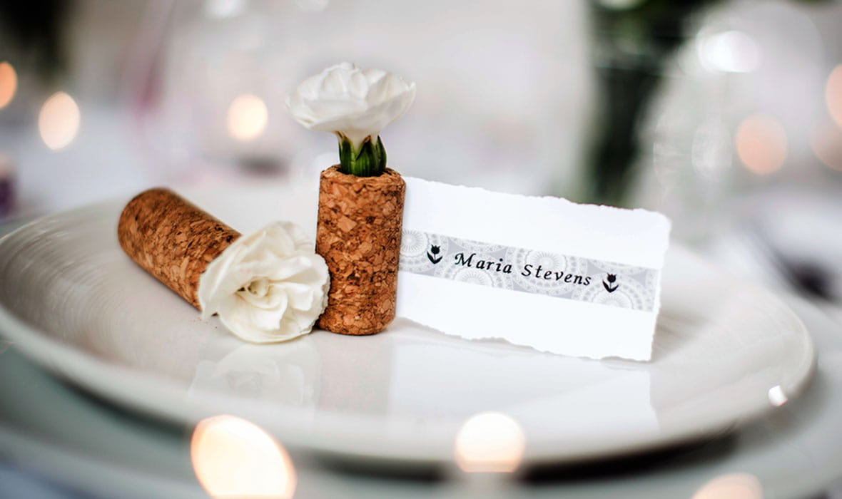 Place setting with personalised name card printed on a a Brother P-touch patterned label