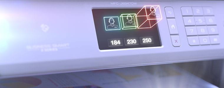 Brother MFC-J6947DW A3 ir A4 formato profesionalūs rašaliniai spausdintuvai su simboliais šokančiais iš ekrano