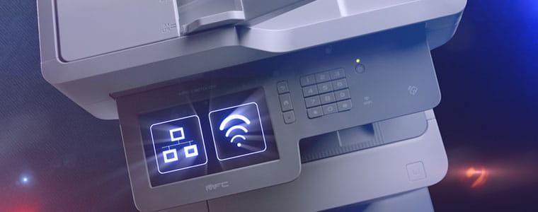 Brother MFC-L9570CDW profesionalus daugiafunkcinis spausdintuvas su tinklu ir WiFi simboliu jutikliniame ekrane