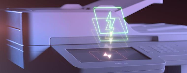Brother MFC-L9570CDW profesionalus spalvotas daugiafunkcinis spausdintuvas su žaibo simboliu virš jutiklinio ekrano