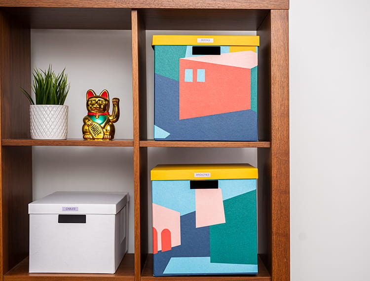 Cubed bookcase with filing and storage accessories