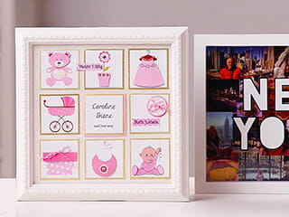 A photo frame with 9 individual full colour labels produced on the Brother Design and Craft label printer