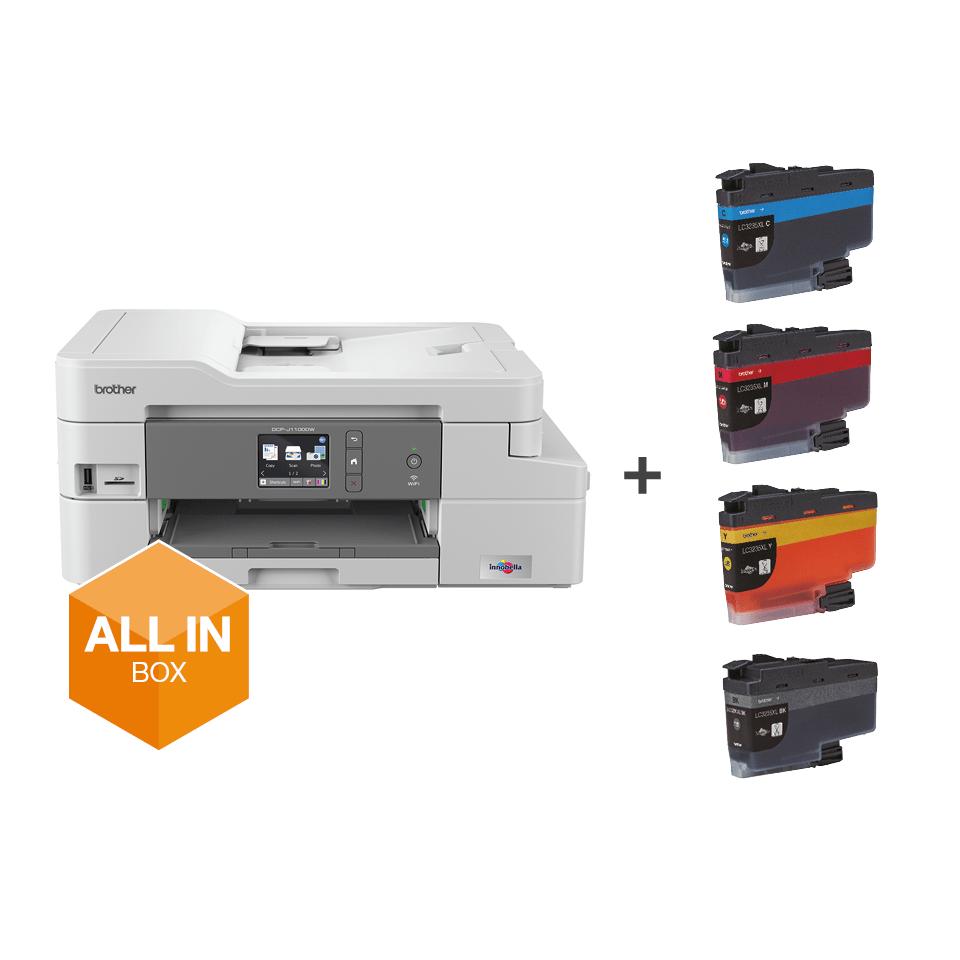 """Belaidis """"3-in-1"""" spalvotas rašalinis spausdintuvas DCP-J1100DW """"Viskas dėžėje"""" rinkinys 7"""