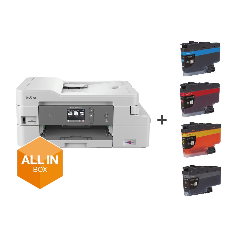 """Belaidis """"4-in-1"""" spalvotas rašalinis spausdintuvas MFC-J1300DW """"Viskas dėžėje"""" rinkinys 8"""