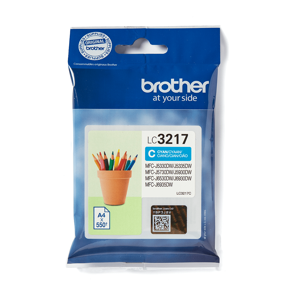 Originali Brother LC3217C rašalo kasetė – Cyan spalvos