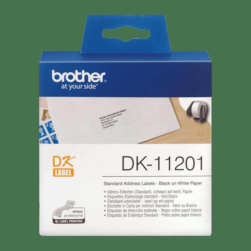Originalus Brother DK-11201 etikečių ritinėlis – juodos raidės baltame fone, 29 mm x 90 mm