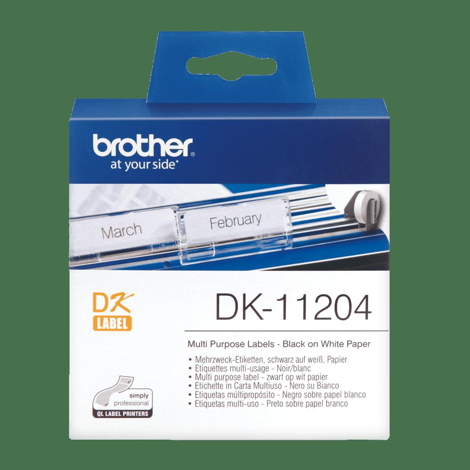 Brother DK-11204 juodų raidžių baltame fone etikečių ritinėlis – 17 mm x 54 mm