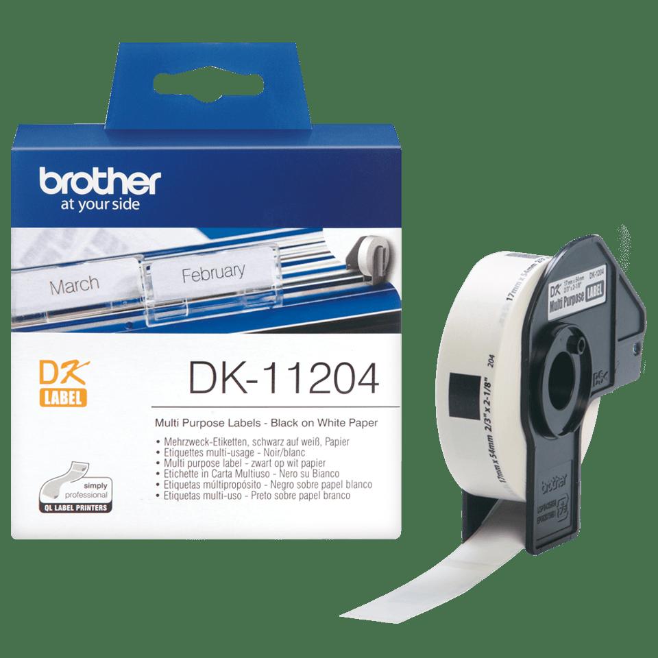Brother DK-11204 juodų raidžių baltame fone etikečių ritinėlis – 17 mm x 54 mm 3