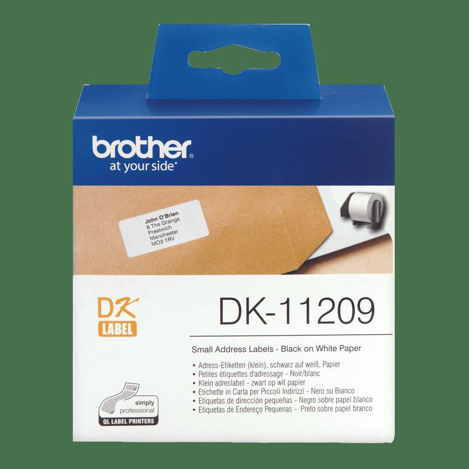 Originalus Brother DK-11209 etikečių ritinėlis – juodos raidės baltame fone, 29 mm x 62 mm