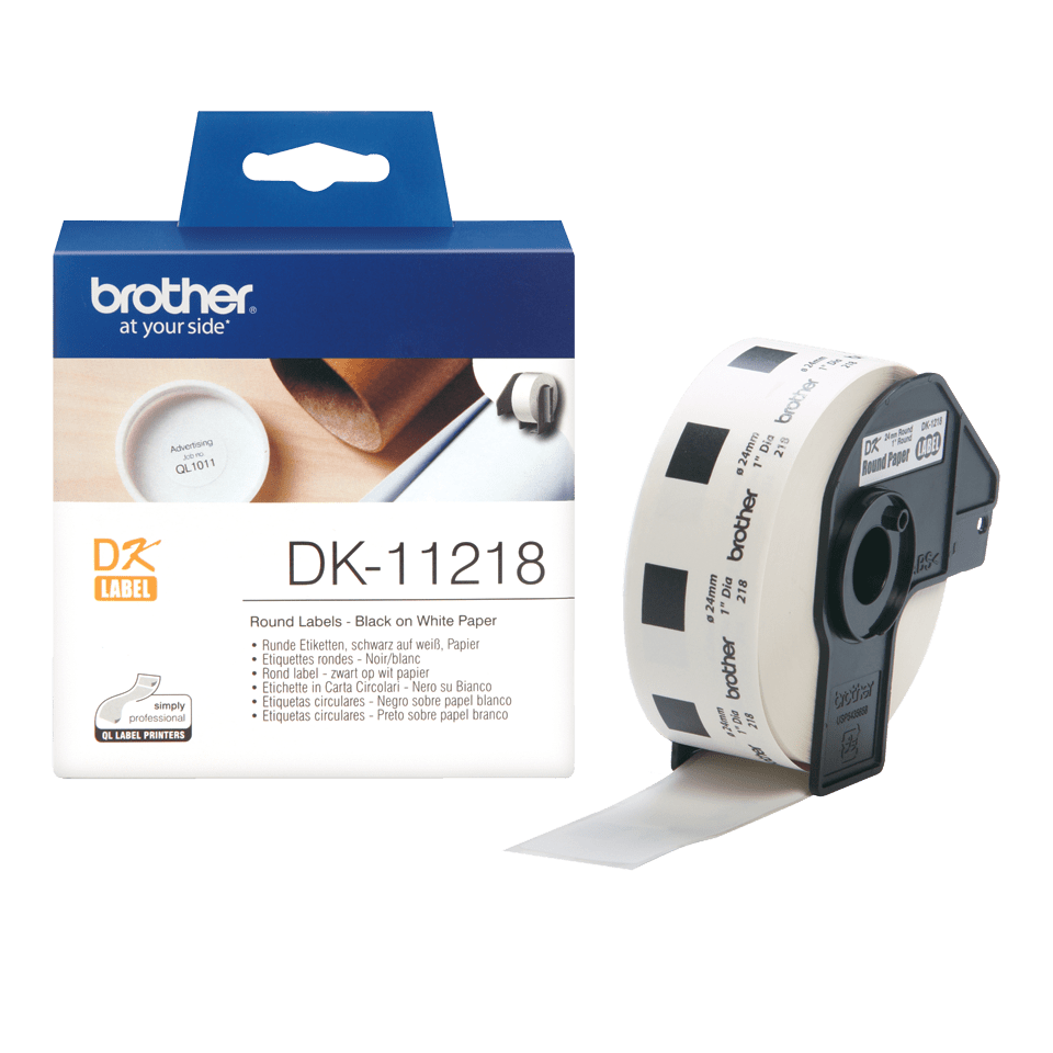 Genuine Brother DK-11218 Label Roll – Black on White, 24mm x 90mm 3