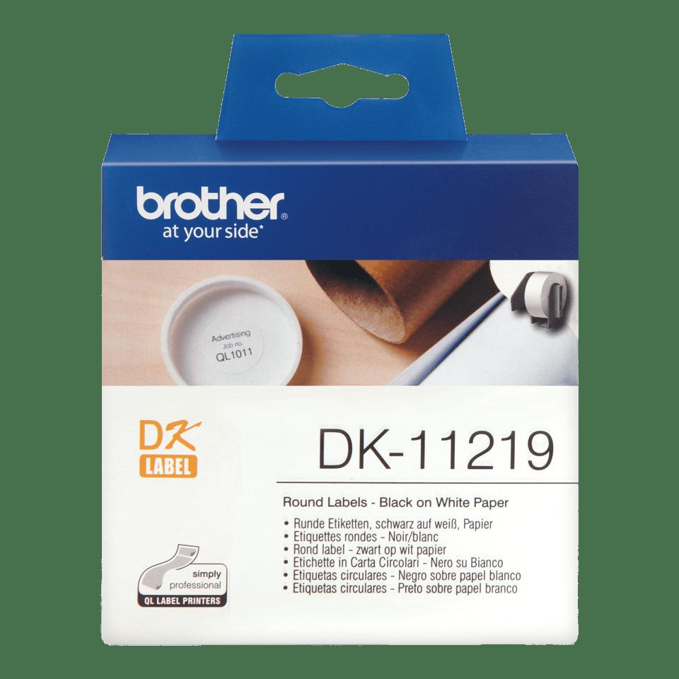 Brother DK-11219 juodų raidžių baltame fone etikečių ritinėlis – 12 mm apvalios formos etiketės