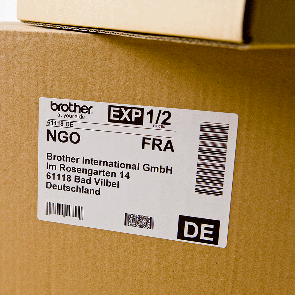 Brother DK-11241 juodų raidžių baltame fone etikečių ritinėlis – 102 mm x 152 mm  2