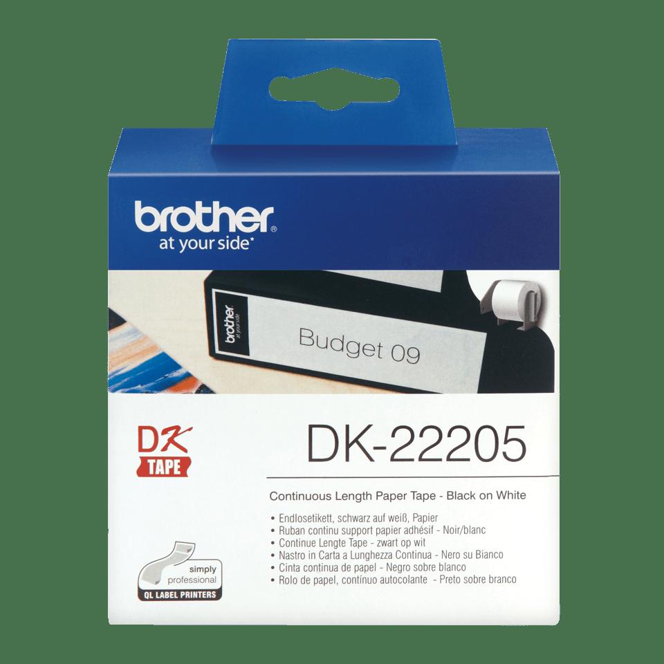 Original Brother DK-22205 DK-labels i endeløs bane – sort på hvid, 62 mm bred