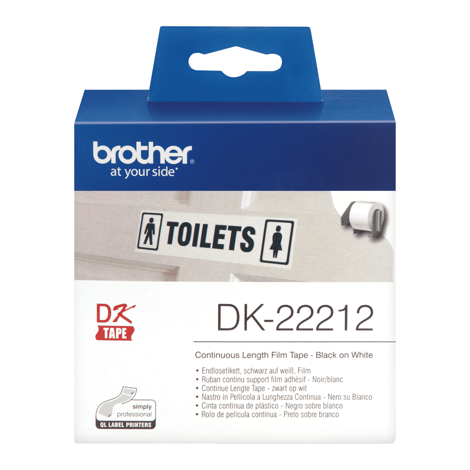 Originalus Brother DK-22212  nenutrūkstamo ilgio kino juostos stiliaus etikečių ritinėlis – juodos raidės baltame fone, 62 mm.