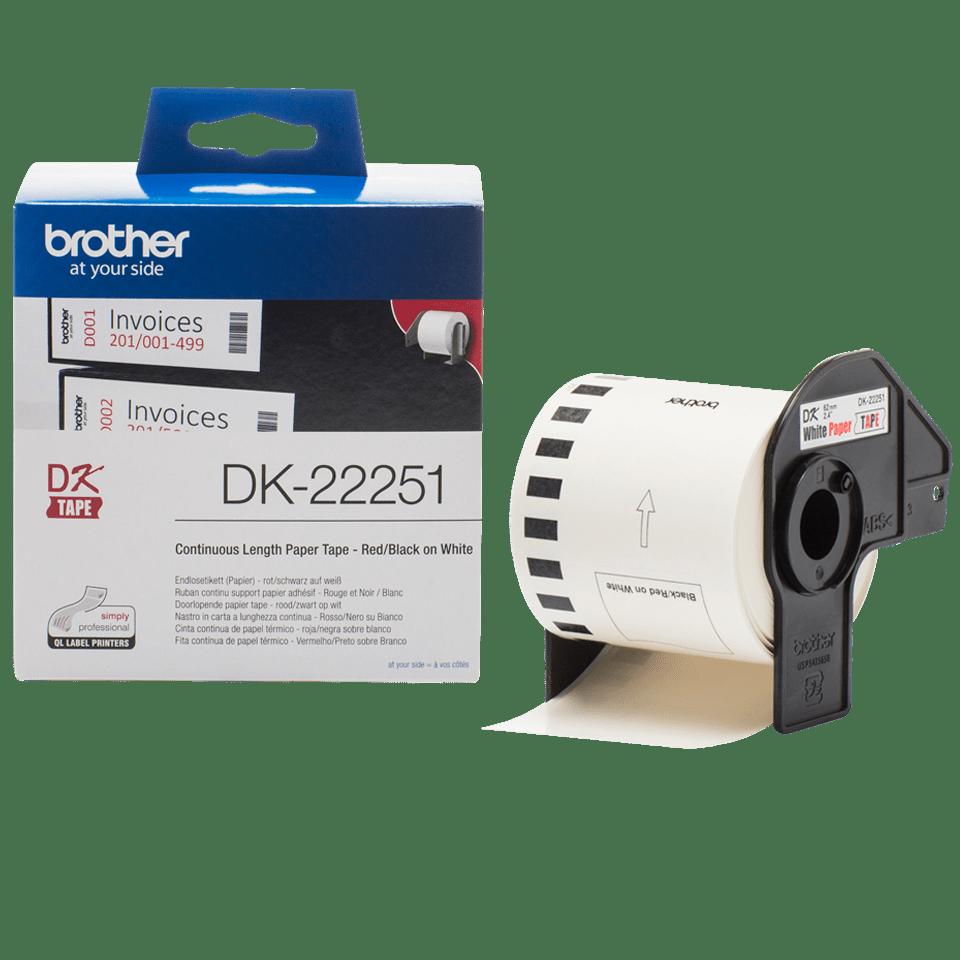 Originalus Brother DK-22251 nenutrūkstamo popieriaus etikečių ritinėlis – juodos ir raudonos raidės baltame fone, 62 mm pločio 3