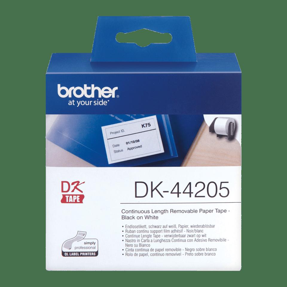 Originalus Brother DK-44205 nenutrūkstamo ilgio popierinis etikečių ritinėlis su nuplėšiama lipnia dalimi – juodos raidės baltame fone, 62 mm 0