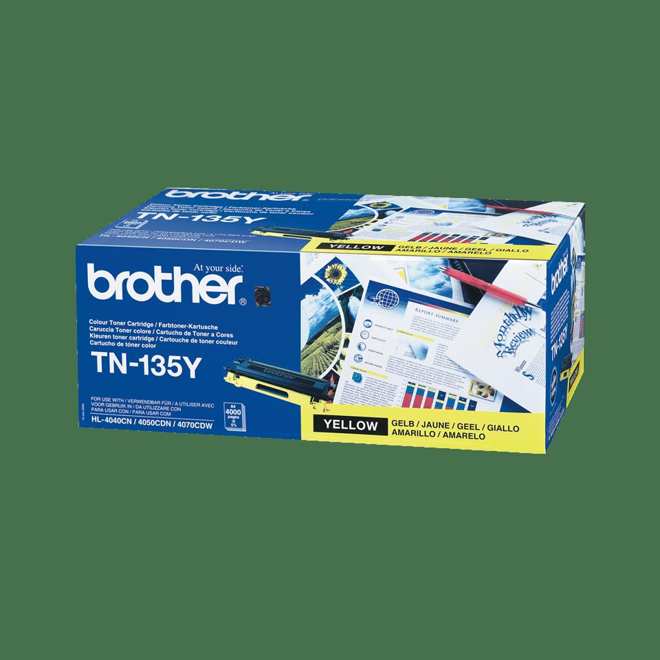 Originali Brother TN135Y didelio našumo dažų kasetė – geltonos spalvos
