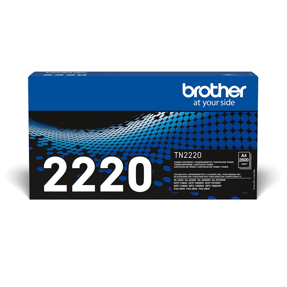 Originali Brother TN2220 didelio našumo dažų kasetė – juodos spalvos