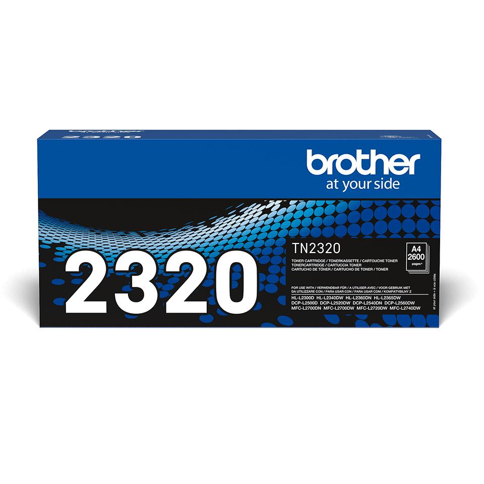 Originali Brother TN2320 didelio našumo dažų kasetė – juodos spalvos