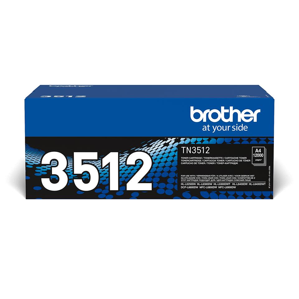 Originali Brother didelio našumo TN3512 dažų kasetė – juodos spalvos
