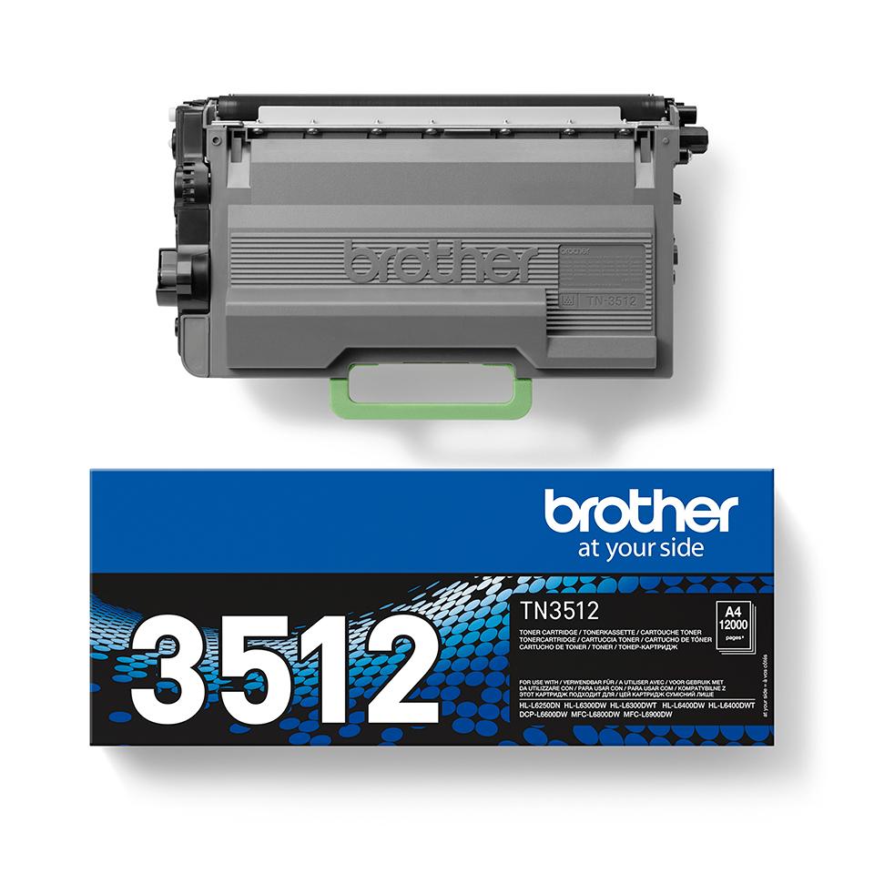 Originali Brother didelio našumo TN3512 dažų kasetė – juodos spalvos  2