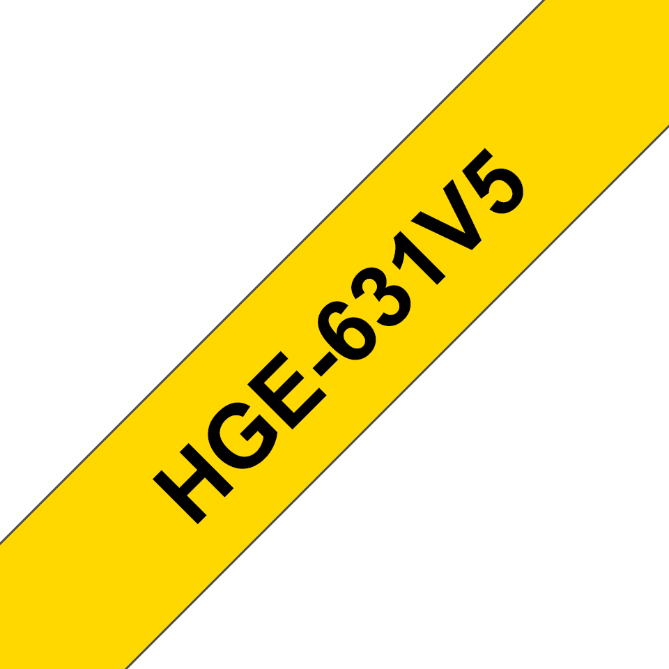 Genuine Brother HGe-631V5 Labelling Tape Cassette – Black on Yellow, 12mm wide