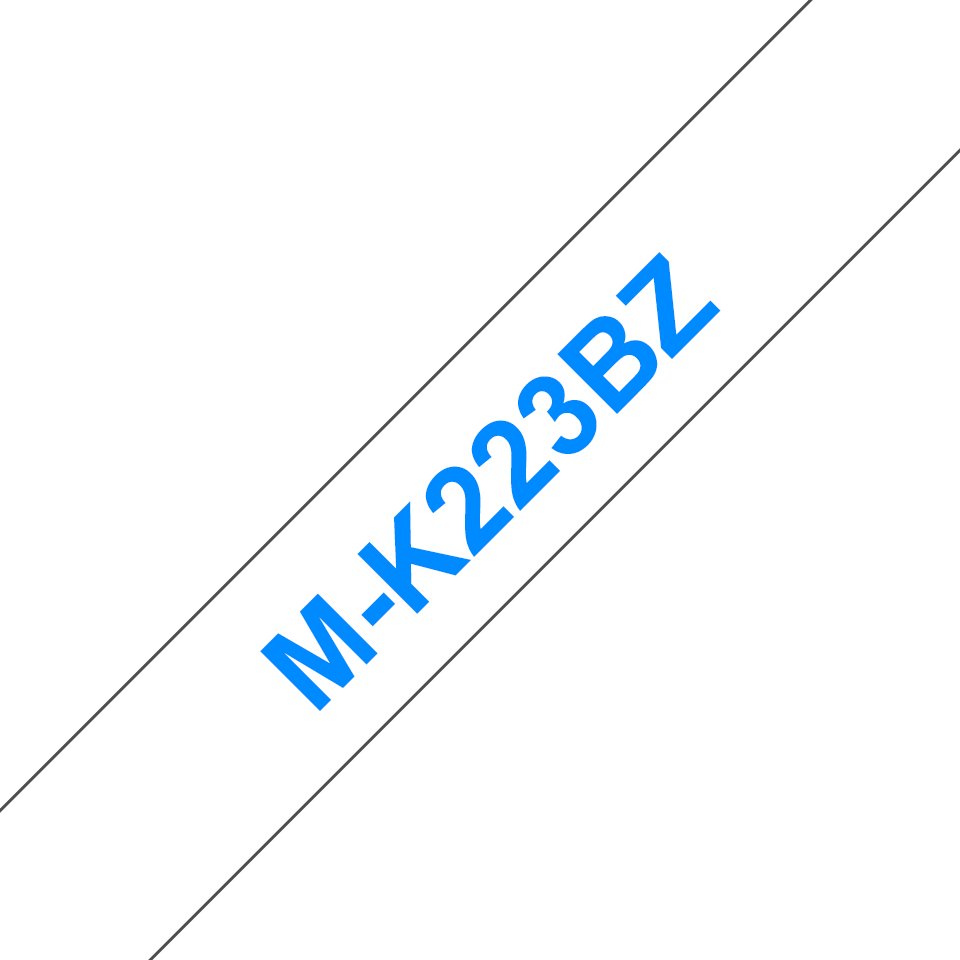 Genuine Brother M-K223BZ Labelling Tape Cassette – Blue on White, 9mm wide