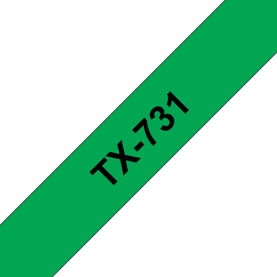 Genuine Brother TX-731 Labelling Tape Cassette – Black on Green, 12mm wide