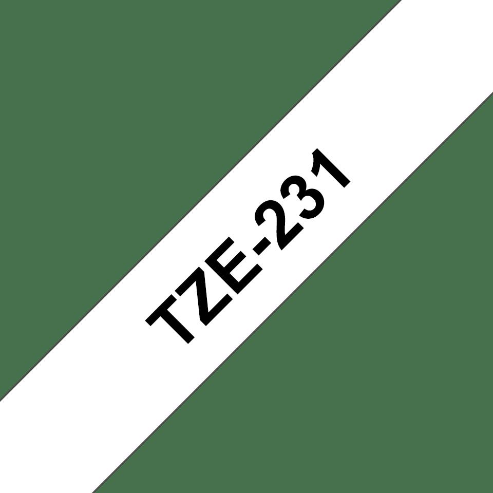Originali Brother TZe-231 ženklinimo juostos kasetė – juodai balta, 12 mm pločio 3
