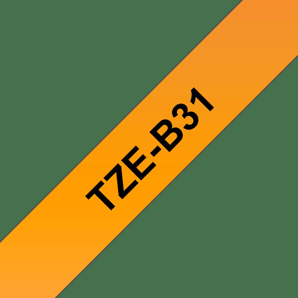 Originali Brother TZe-B31 ženklinimo juostos kasetė – fluorescentinės oranžinės spalvos, 12 mm pločio. 3