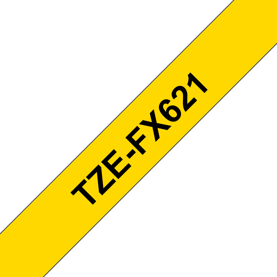 Genuine Brother TZe-FX621 Labelling Tape Cassette – Black on Yellow, 9mm wide 3