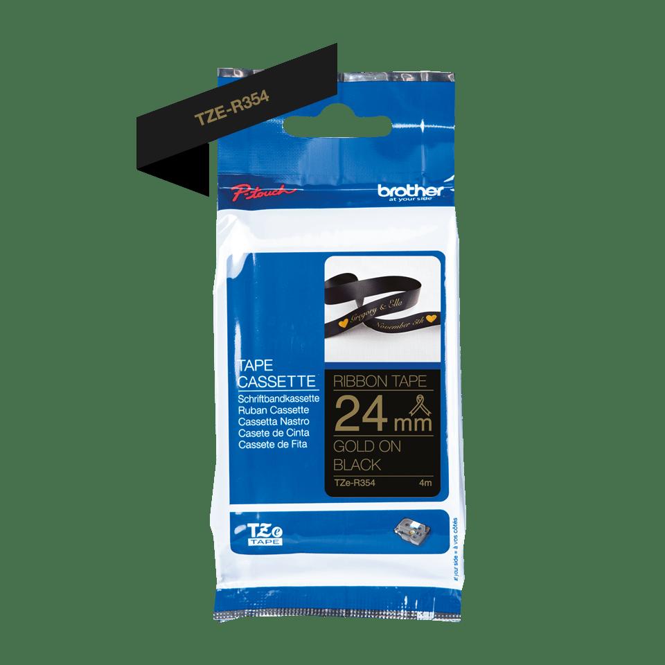 Originali Brother TZe-R354 juostos kasetė – auksinės raidės juodame fone, 24 mm pločio