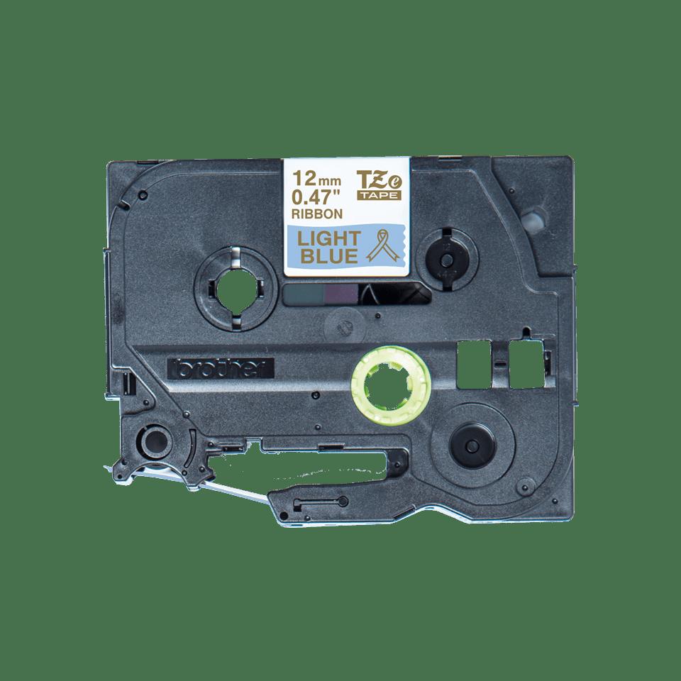 Originali Brother TZe-RL34 juostos kasetė – auksinės raidės šviesiai mėlyname fone, 12 mm pločio