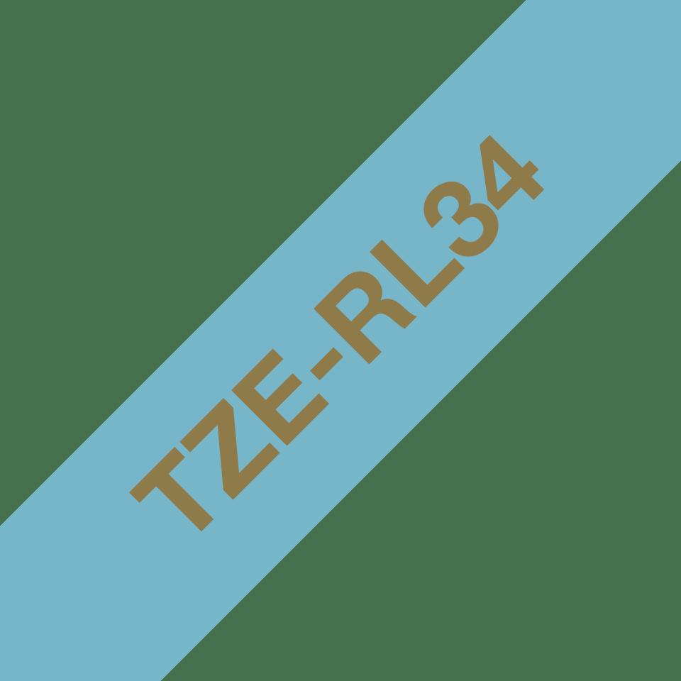 Originali Brother TZe-RL34 juostos kasetė – auksinės raidės šviesiai mėlyname fone, 12 mm pločio 3