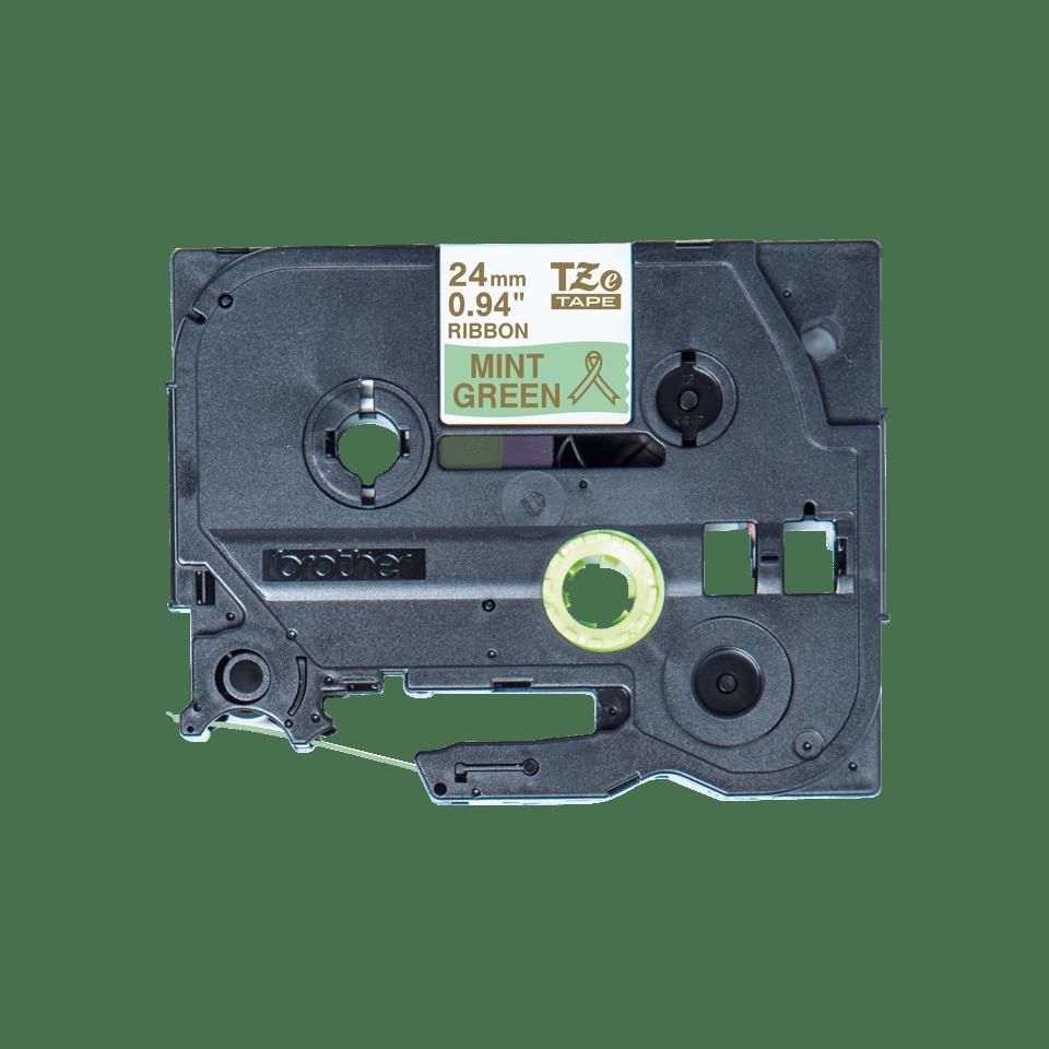 Originali Brother TZe-RM54 juostos kasetė – auksinės raidės mėtos žalumo fone, 24 mm pločio