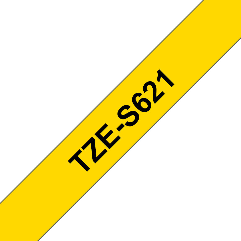 Genuine Brother TZe-S621 Labelling Tape Cassette – Black on Yellow, 9mm wide 3